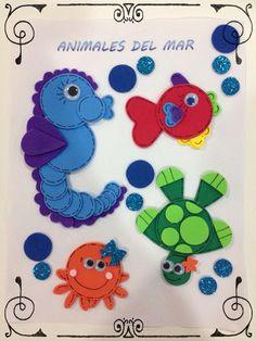 Animalitos del Mar, hechos de Foamy con perforadores de figuras