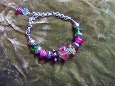 Lampwork madness Bracelet by crste3designs on Etsy, $16.00