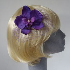 Purple Orchid Flower Hair Comb with Veiling £7.50