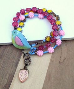 Bird bracelet multistrand bracelet blue yellow by ButtonedUpBeads