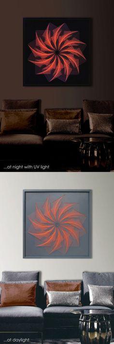 "3D Modern String Art Mandala, Dolphin Gray, Orange, Framed 28,7""x 28,7"" (73x73 cm), UV effect, behind glass, for Office, Home, Club, Bar"