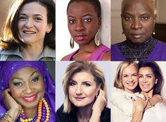 Supporters of #PovertyIsSexist - and RACIST too. Clockwise from top left: Sheryl Sandberg, Danai Gurira, Angelique Kidjo, Mariella Frostrup and Karen Ruimy,Ariana Huffington, Yvonne Chaka Chaka.