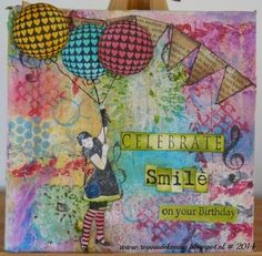 Canvas made with Artjourney stamps, dyslusions, acrylverf, adriondack inkt and stazon.