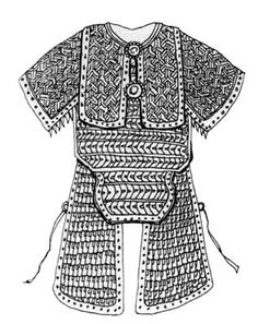 """Armor lamellar cuirass, complete the four-bib-""""poncho"""", made up of leather sewn over the segments with iron plates and wide Shoulders and Gaiters, edged with a band of organic materials. Illustration of the military encyclopedia 2nd XI in half. """"Wujin Tszunyao."""" (Thumbnail prepared L. Bobrov)"""