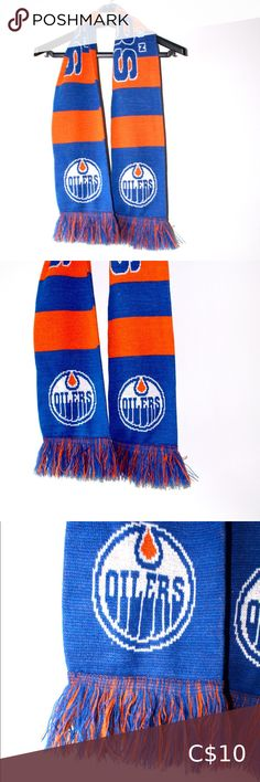 """🧡💙 Edmonton Oilers scarf 💙🧡 NEW WITHOUT TAGS. Edmonton oilers scarf. 59"""" long and 6.5"""" wide. Smoke and pet free home Accessories Scarves & Wraps Brown Faux Leather Jacket, Faux Leather Jackets, Chunky Infinity Scarves, Leopard Print Scarf, Polka Dot Scarf, Burberry Scarf, Plaid Blanket Scarf, Leather Heeled Boots, Edmonton Oilers"""