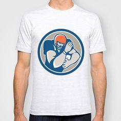 American Football Player Fend Off Circle Retro T-shirt