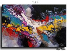 "Abstract Original Painting by skyetaylorgalleries on Etsy Title: Yes!  You are looking at an Original Acrylic Abstract Painting measuring 24"" HIGH x 36"" WIDE x 7/8"" DEEP. The finest professional quality materials have been used to create this vivid and stunning Masterpiece! $275"