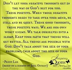 Think positive quotes via Inspiring Quotes with Penny Lee on Facebook