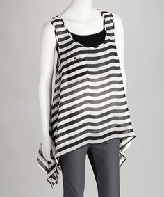 Take a look at this Black & White Sidetail Tank by Rain on #zulily today!  $29.99, regular 82.00