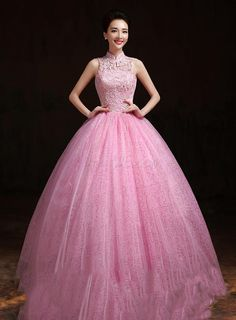 Delicate Lace High Neck Floor Length Ball Gown Dress