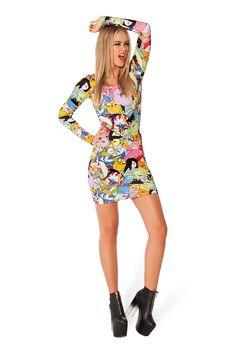 Adventure Time Bro Ball Long Sleeve Dress by Black Milk Clothing $110AUD