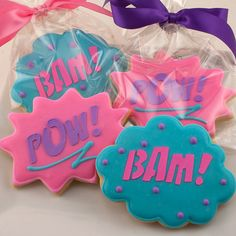 Girl Super Hero Cookies Pow & Bam only  36 Decorated by TSCookies