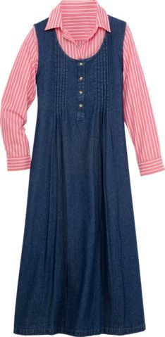 Cotton Pintuck Jumper Dress Vermont Country Store T