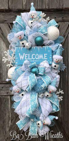 Christmas Mesh Wreath Christmas Wreath Holiday Wreath Blue