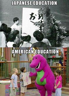 Godzilla and Barney