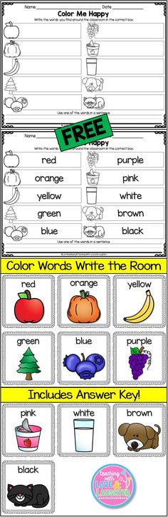 Writing Language Domain: Write the Room.Color Me Happy {Freebie} Kindergarten Colors, Preschool Colors, Kindergarten Centers, Kindergarten Writing, Kindergarten Literacy, Kindergarten Activities, Writing Activities, Teaching Reading, Color Activities