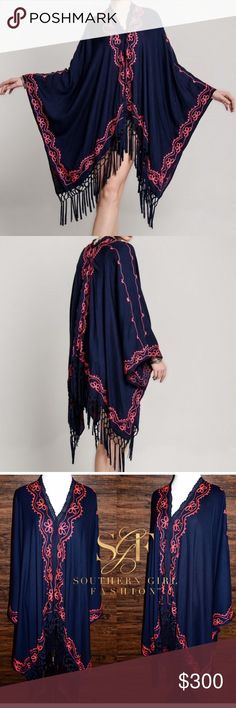EMBROIDERED CAPE Long Kimono Cardigan Jacket Top One Size.  New With Tags.  $198 Retail + Tax.   • Intricate dark blue embroidered poncho featuring an oversized, loose-fitting silhouette & lace detailing. • Knotted uneven fringe tassels along hemlines add character. • Draped armholes and single button closure at front.  • Unlined, semi-sheer. • Measurements provided in comment(s) section below.   {Southern Girl Fashion - Boutique Policy}   ✔️ Same-Business-Day Shipping (10am CT). ✔️ Price…
