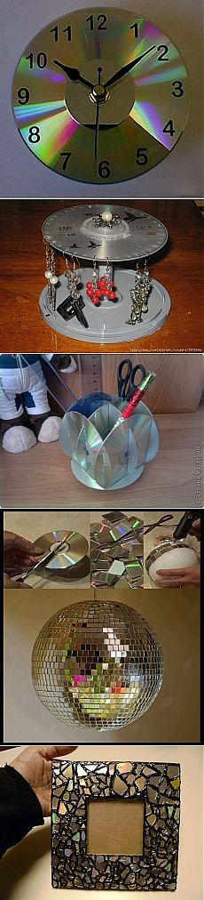 16 Awesome Ideas for DIY Christmas Decorations Art and Craft Old Cd Crafts, Easy Crafts, Diy And Crafts, Crafts For Kids, Arts And Crafts, Recycled Cds, Recycled Crafts, Cd Recycle, Cd Diy