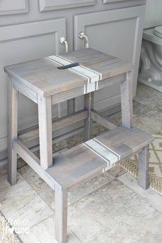 IKEA Bekvam Stool Hack Idea: DIY Driftwood Grain Sack Stool Makeover. Home and Kitchen Crafts | IKEA Step Stool