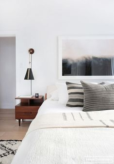 bedroom with white and gray