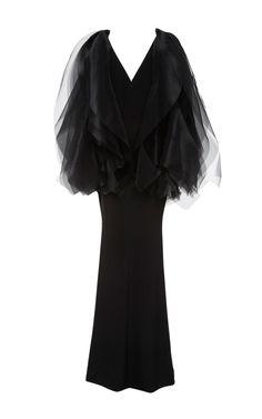 Organza Shoulder Crepe Gown by Christian Siriano   Moda Operandi