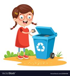 Boy putting aluminum in recycling bin Royalty Free Vector Recycling For Kids, Recycling Bins, Kids Vector, Vector Free, School Clipart, You Are The Father, Event Planning, Kindergarten, Digimon