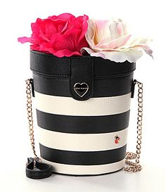 Betsey Johnson Flower Pot Striped CrossBody Bag #Dillards