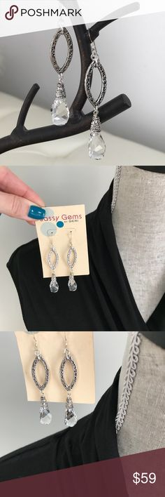 Custom designed Swarovski & Sterling earrings Handcrafted, custom designed earrings by SASSY GEMS BY GERI.  Helix Swarovski Crystal and Maquis on Sterling Silver. Sassy Gems By Geri Jewelry Earrings