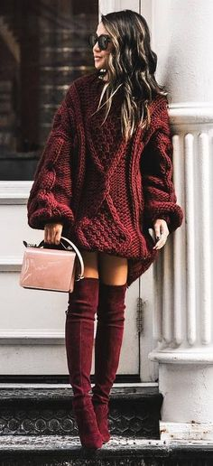 amazing fall outfit : oversizerd knit sweater   bag   maroon over knee boots