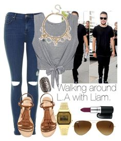 """Walking around L.A with Liam."" by welove1 ❤ liked on Polyvore featuring Topshop, Ally Fashion, H&M, Ray-Ban, Forever 21 and MAC Cosmetics"