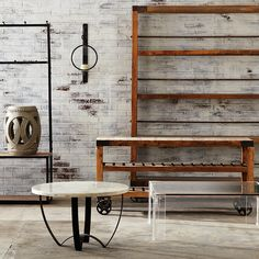 Clean lines and rustic finishes anchor a room