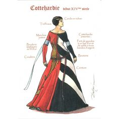 cottehardie XIVe (I have this image on a postcard, bought at the Chateau de Vincennes when I was in Paris)