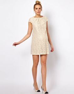 Asos Maternity Shift Dress in Lace with Pleated Neck in Beige (cream) - Lyst