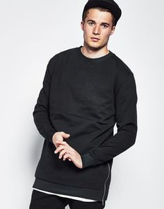 The Idle Man Long Sleeve Crew Neck Sweatshirt with Zips - Mens clothing