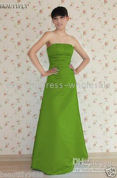 Wholesale New A-line Floor Length Strapless Green Formal Gowns Evening Dresses US size 4 6 8 10 12, Free shipping, $90.8/Piece | DHgate