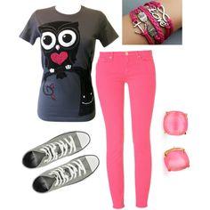 Pink and gray owl set