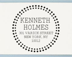 Personalized Pre Inked Return Address Stamp - Custom Address Stamp - Circle Dot Design - AA27