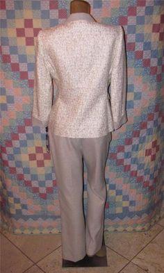 Tahari Petite Womens Career 2Pc Business Suit Set Pants & Blazer Jacket Size 8P #TahariArthurSLevine #PantSuit