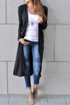 I love the cardigan, moto jeans, and booties. ♡