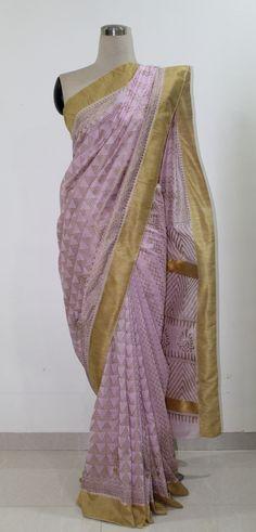 Pink and Gold Hand Block Printed Chanderi Saree..To buy this Saree drop a message.