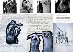 This IB Art workbook explores the concept of body distortion. Images are placed in a simple grid formation at the top of the page, with drawings and photographs cut out and painted around at the bottom; ideas morphing and developing from one medium to another. This results in a varied and interesting sketchbook page that suits the intriguing subject matter.