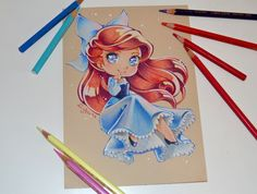Time for another few chibi Disney Princesses. So let's start off with our beloved little mermaid Ariel Her wonderful blue dress is just perfect to go out with the others! Disney Kunst, Arte Disney, Disney Fan Art, Disney Pixar, Cute Disney Drawings, Disney Sketches, Cute Drawings, Drawing Disney, Disney Chibi