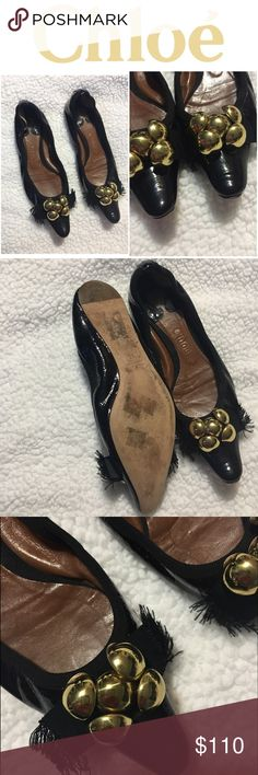 "CHLOE black Flats ballet CHLOE black ballet flats with gold sphere and grosgrain ribbon details, size 36 made in Italy back of shoes have elastic to hold shoe on foot. ""No box"" good condition. selling for a friend Chloe Shoes Flats & Loafers"