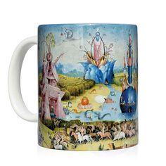 """Taza con la imagen central del famoso tríptico de El Bosco """"El Jardín de las delicias"""" - Mug with the central image of the famous Bosch triptych """"The Garden of Earthly Delights"""" · Van Gogh, Garden Of Earthly Delights, Mug Art, Panel, Art Work, Mugs, Clothing, Prints, Diy"""