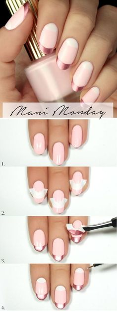 Homemade Pink Manicure- Turn Trends into 24 Fabulous Ideas He is always superb when one can make and keep nails at home. The DIY nail art not only saves money, but also to opt for many designs perfectly matchi. Moon Manicure, Pink Manicure, Rose Nails, Romantic Nails, Elegant Nails, Classy Nails, French Nails, French Manicures, Nail Art Diy