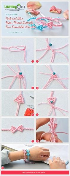 How to Make Pink and Blue Nylon Thread Butterfly Bow Friendship Bracelets from LC.Pandahall.com | Jewelry Making Tutorials & Tips 2 | Pinterest by Jersica