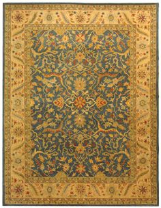 Yellow with blue and rust accents...   Rug AT14E - Safavieh Rugs - Antiquities Rugs - Wool Rugs - Area Rugs - Runner Rugs