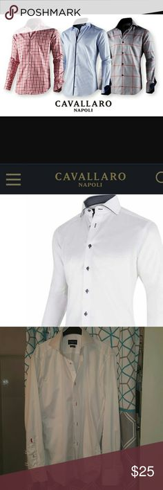 Cavallaro Napoli, Italian brand men's shirt, sz 40 Cavallaro Napoli, Italian brand men's dress up shirt, sz 40  Fitted   Excellent quality, NOT SOLD IN THE USA  Never worn   100% cotton   Tags removed b/c came thru customs since was bought abroad, it is a brand new never worn item Cavallaro Napoli  Shirts Dress Shirts