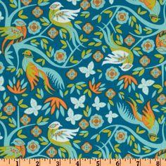 Imperial Pheasant Pheasant Garden Teal-Fabric.com