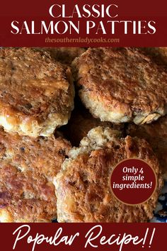 SALMON PATTIES - The Southern Lady Cooks - Old Fashioned Recipe Salmon Dishes, Fish Dishes, Seafood Dishes, Main Dishes, Shellfish Recipes, Seafood Recipes, Dinner Recipes, Seafood Meals, Dinner Entrees